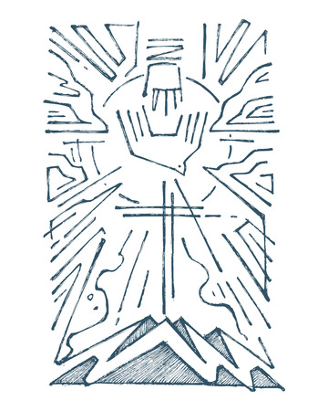 Hand drawn vector illustration or drawing of The Holy Trinity religious symbol