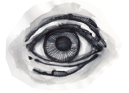 Hand drawn illustration or drawing of a human eye Stock Photo