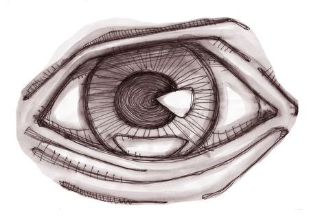Hand getekend ilustration van een menselijk oog