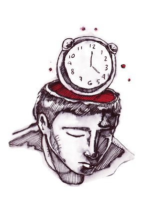 Hand drawn vector illustration or drawing of a man with a clock instead of head Фото со стока