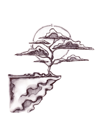 Hand drawn vector illustration or drawing of a bonsai tree on a cliff
