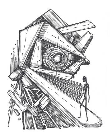 Hand drawn illustration or drawing of a man on an urban maze illustration