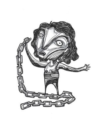 drawn metal: Hand drawn illustration or drawing of a woman with metal chains