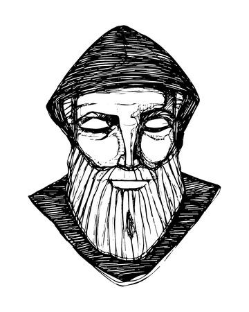 Hand drawn vector illustration or drawing of a monk in meditation Ilustração