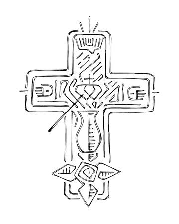 simbolos religiosos: Dibujado a mano ilustración vectorial o el dibujo de una cruz, con los símbolos religiosos dfferent,