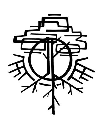 추상적 인 기호 나무의 손으로 그린 벡터 일러스트 레이 션 또는 도면