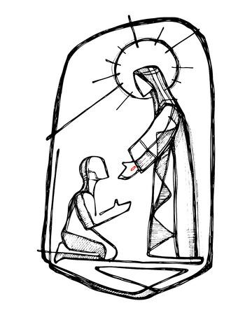 Illustrazione disegnata a mano di disegno vettoriale o di Gesù Cristo che guarisce un uomo in uno stile minimalista Vettoriali