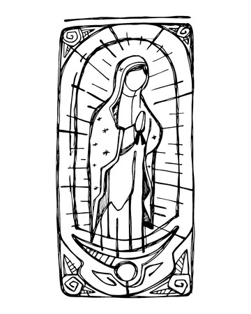 Hand drawn vector illustration or drawing of Mary Virgin of Guadalupe Stock Illustratie