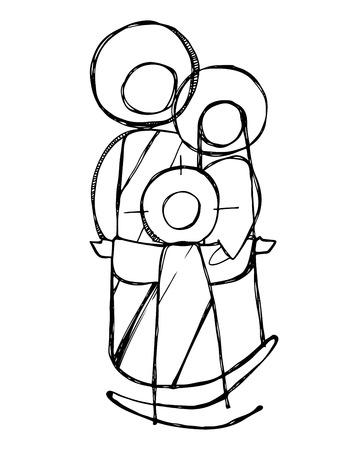 disegnata a mano illustrazione vettoriale o disegno di Gesù Sacra Famiglia in uno stile minimalista