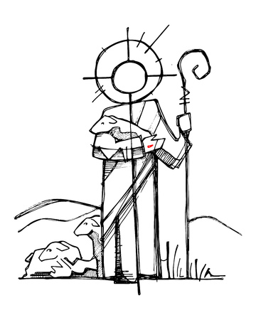 Hand drawn vector illustration or drawing of Jesus Christ as a Good Shepherd in a minimalist style Vectores