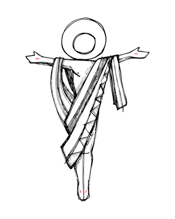 Hand drawn vector illustration or drawing of Jesus Christ Resurrection in a minimalist style Ilustracja