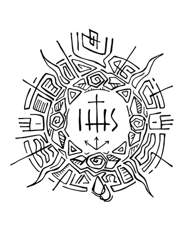 jesuit: Hand drawn vector illustration or drawing of an abstract sun with religious christian symbols