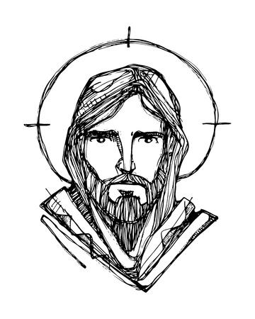 손으로 그린 된 벡터 일러스트 레이 션 또는 예수 그리스도 얼굴의 그리기