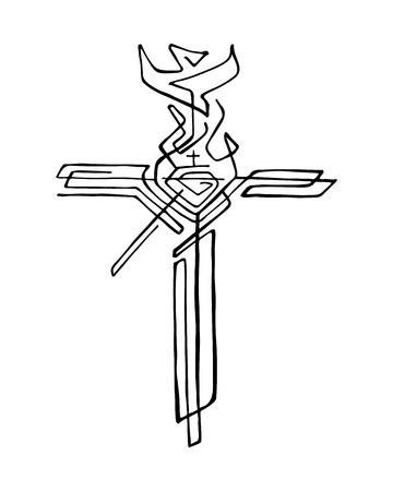 Hand gezeichnet Vektor-Illustration oder eine Zeichnung eines religiösen Kreuz mit verschiedenen Symbolen Standard-Bild - 63980488