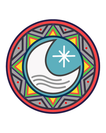 Hand drawn vector illustration or drawing of a sun, a moon and a star, in an indigenous ethnic indian style Ilustração