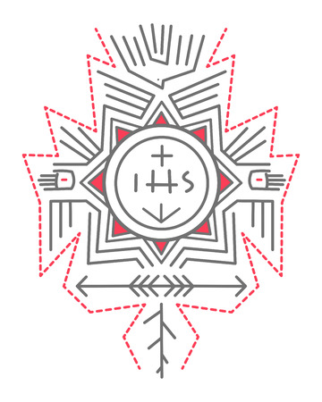 jesuit: Hand drawn vector illustration or drawing of a composition of religious symbols in an indigenous style