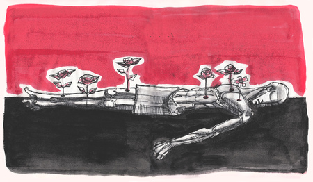 martyr: Hand drawn illustration or drawing of a martyr dead man with roses growing from his wounds Stock Photo
