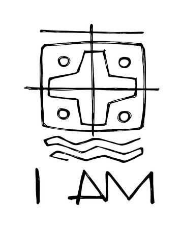 i am: Hand drawn vector illustration or drawing of a religious symbol and the phrase: I am