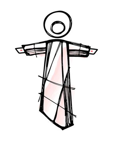 resurrection: Hand drawn vector illustration or drawing of Jesus Christ Resurrection