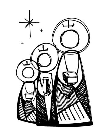 Mano vector dibujado la ilustración o dibujo de los tres reyes magos bíblicos Ilustración de vector