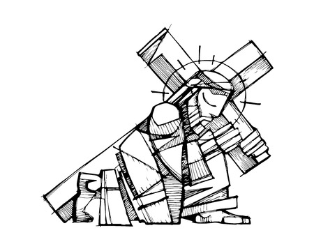 Hand drawn vector illustration or drawing of Jesus Christ carrying the Cross  イラスト・ベクター素材