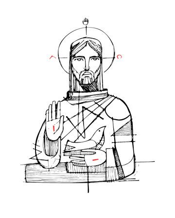 simbolos religiosos: dibujado a mano ilustración de dibujo vectorial o de Jesucristo y de los símbolos religiosos