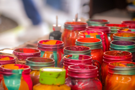 cristal: Photograph of some colorful cristal bottles with paint