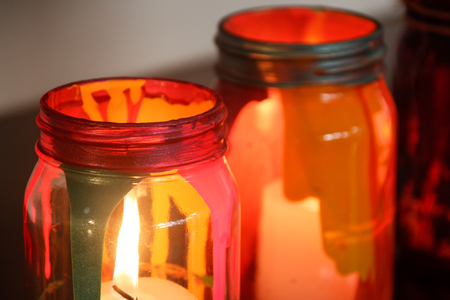 cristal: Photograph of some colorful cristal lamps with a wax candle inside