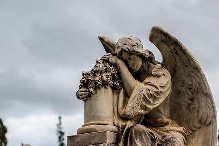 Photograph of an angel monochrome statue Stock Photo