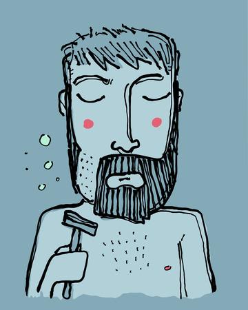Hand drawn  illustration or drawing of a sad cartoon man shaving his beard