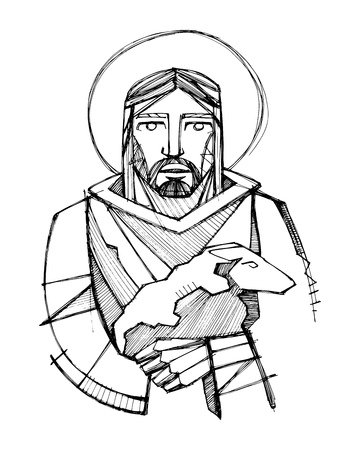 Hand drawn vector illustration or drawing of Jesus Christ as Good Shepherd carrying a sheep 向量圖像