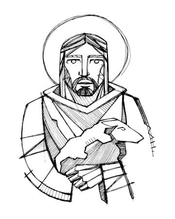 Hand getrokken vector illustratie of het trekken van Jezus Christus als Goede Herder het dragen van een schaap