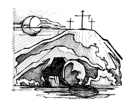 Hand drawn vector illustration or drawing of Jesus Christ empty tomb