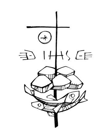 simbolos religiosos: dibujado a mano ilustración vectorial o plano de los símbolos religiosos de los cinco panes y dos peces y una cruz