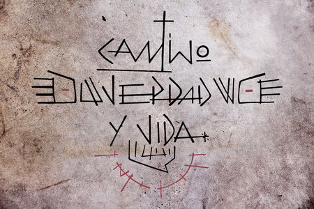 Hand drawn illustration or drawing of Jesus Christ phrase in spanish: Camino, Verdad y Vida, wich means: Path, Truth and Life