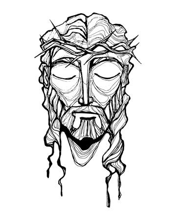 手描きのベクトル図や彼の情熱でイエス ・ キリストの顔の描画  イラスト・ベクター素材
