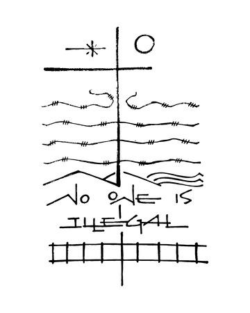 Hand getrokken vector illustratie of het trekken van een kruis en andere symbolen in verband met migratie Stock Illustratie