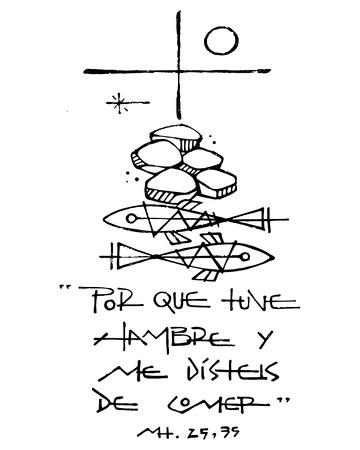 Dibujado a mano ilustración vectorial o dibujo de una Christian Cross, otros símbolos y una frase en español que dice: Porque Tuve hambre y me disteis de comer, lo que significa: Porque tuve hambre y me diste de comer Ilustración de vector