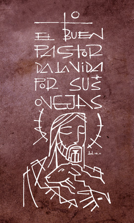 Hand drawn illustration or drawing of Jesus Christ carrying a sheep and the phrase in spanish: El Buen Pastor da la vida por sus ovejas, which means: The Good Shepherd gives his life for his sheeps Banco de Imagens