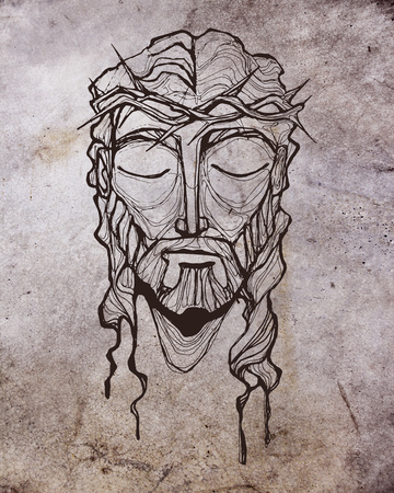 Hand drawn illustration or drawing of Jesus Christ face at his Passion Stock fotó