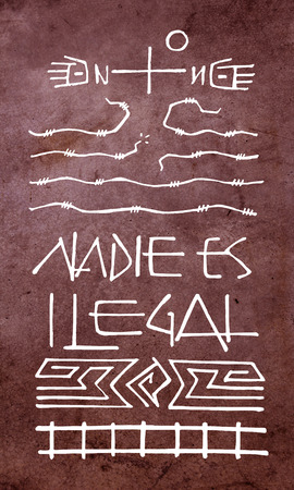 Hand drawn illustration or drawing of a Christian Cross and symbols with the phrase in spanish: Nadie es ilegal, which means: No one is illegal