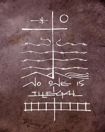 Hand getrokken illustratie of het trekken van een kruis en andere symbolen in verband met migratie