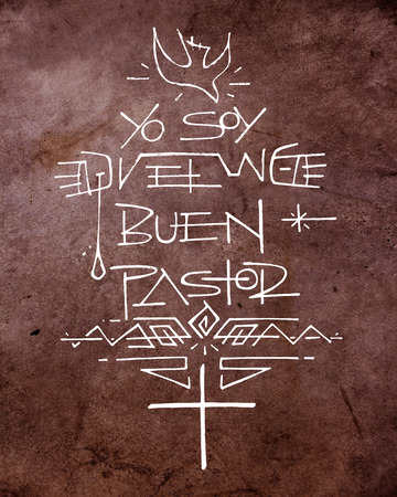 Hand drawn illustration or drawing of a Christian Cross, a Dove and other symbols, with the phrase in spanish that says: Yo soy el Buen Pastor, which means: I am the Good Shepherd Stock Photo