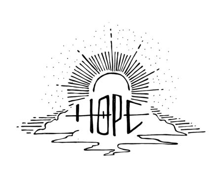 Hand drawn vector illustration or drawing of the word Hope and a sky