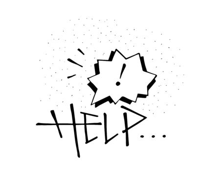 Hand drawn vector illustration or drawing of the word Help and concept