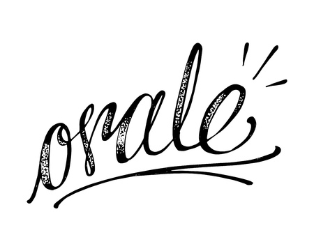Hand drawn vector illustration or drawing of the handwritten word in spanish: Orale, which means: Let´s do it Ilustração