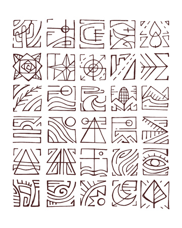 corn flower: Hand drawn vector illustration or drawing of different abstract indigenous symbols