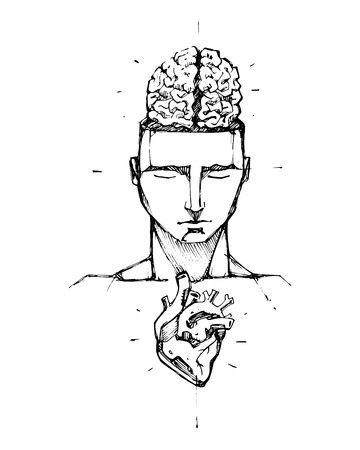 visible: Hand drawn vector illustration or drawing of a man with a visible brain and heart Illustration
