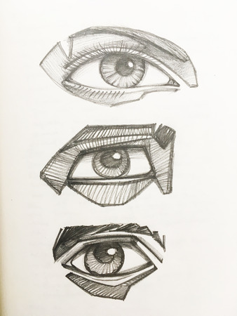 Hand drawn illustration or drawing of three different human eyes