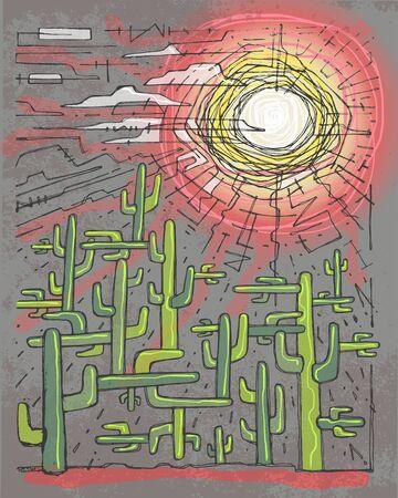 Hand getrokken vectorillustratie of tekening van sommige cactussen in een woestijnscenario